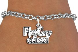 "<bR>               EXCLUSIVELY OURS!!<BR>         AN ALLAN ROBIN DESIGN!!<BR>CLICK HERE TO SEE 600+ EXCITING<BR>   CHANGES THAT YOU CAN MAKE!<BR>             LEAD & NICKEL FREE!! <BR>W1287SB - POLISHED SILVER TONE <BR>""FLAG CORP CHICK!"" CHARM BRACELET <BR>     FROM $4.15 TO $8.00 �2012"