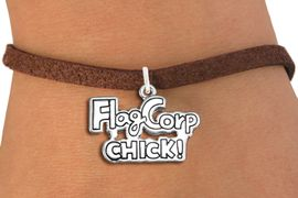 """<bR>               EXCLUSIVELY OURS!!<BR>         AN ALLAN ROBIN DESIGN!!<BR>CLICK HERE TO SEE 600+ EXCITING<BR>   CHANGES THAT YOU CAN MAKE!<BR>             LEAD & NICKEL FREE!! <BR>W1287SB - POLISHED SILVER TONE <BR>""""FLAG CORP CHICK!"""" CHARM BRACELET <BR>     FROM $4.15 TO $8.00 �2012"""