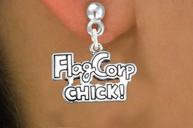 """<bR>               EXCLUSIVELY OURS!!<BR>         AN ALLAN ROBIN DESIGN!!<BR>CLICK HERE TO SEE 600+ EXCITING<BR>   CHANGES THAT YOU CAN MAKE!<BR>              LEAD & NICKEL FREE!! <BR>W1287SE -  SILVER TONE CHARM <BR>""""FLAG CORP CHICK!"""" EARRINGS  <BR>      FROM $4.50 TO $8.35 �2012"""