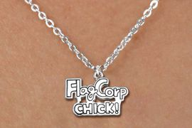 "<bR>               EXCLUSIVELY OURS!!<BR>         AN ALLAN ROBIN DESIGN!!<BR>CLICK HERE TO SEE 600+ EXCITING<BR>   CHANGES THAT YOU CAN MAKE!<BR>              LEAD & NICKEL FREE!! <BR>W1287SN -  ""FLAG CORP CHICK!"" <Br>SILVER TONE CHARM & CHILDS NECKLACE <BR>      FROM $4.50 TO $8.35 �2012"