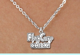"""<bR>               EXCLUSIVELY OURS!!<BR>         AN ALLAN ROBIN DESIGN!!<BR>CLICK HERE TO SEE 600+ EXCITING<BR>   CHANGES THAT YOU CAN MAKE!<BR>              LEAD & NICKEL FREE!! <BR>W1287SN -  """"FLAG CORP CHICK!"""" <Br>SILVER TONE CHARM & CHILDS NECKLACE <BR>      FROM $4.50 TO $8.35 �2012"""