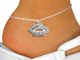 """<bR>                 EXCLUSIVELY OURS!!<BR>           AN ALLAN ROBIN DESIGN!!<BR>  CLICK HERE TO SEE 600+ EXCITING<BR>     CHANGES THAT YOU CAN MAKE!<BR>               LEAD & NICKEL FREE!! <BR>W1288SAK - POLISHED SILVER TONE <BR>""""WINTER GUARD ROCKS!"""" CHARM & ANKLET <BR>         FROM $3.35 TO $8.00 �2012"""