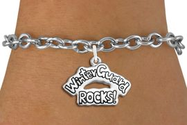 """<bR>               EXCLUSIVELY OURS!!<BR>         AN ALLAN ROBIN DESIGN!!<BR>CLICK HERE TO SEE 600+ EXCITING<BR>   CHANGES THAT YOU CAN MAKE!<BR>             LEAD & NICKEL FREE!! <BR>W1288SB - POLISHED SILVER TONE <BR>""""WINTER GUARD ROCKS!"""" CHARM BRACELET <BR>     FROM $4.15 TO $8.00 �2012"""