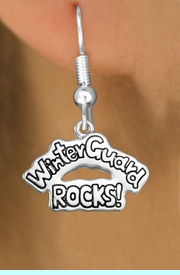 """<bR>               EXCLUSIVELY OURS!!<BR>         AN ALLAN ROBIN DESIGN!!<BR>CLICK HERE TO SEE 600+ EXCITING<BR>   CHANGES THAT YOU CAN MAKE!<BR>              LEAD & NICKEL FREE!! <BR>W1288SE -  SILVER TONE CHARM <BR>""""WINTER GUARD ROCKS!"""" EARRINGS  <BR>      FROM $4.50 TO $8.35 �2012"""