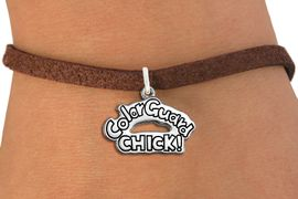 """<bR>               EXCLUSIVELY OURS!!<BR>         AN ALLAN ROBIN DESIGN!!<BR>CLICK HERE TO SEE 600+ EXCITING<BR>   CHANGES THAT YOU CAN MAKE!<BR>             LEAD & NICKEL FREE!! <BR>W1289SB - POLISHED SILVER TONE <BR>""""COLOR GUARD CHICK!"""" CHARM BRACELET <BR>     FROM $4.15 TO $8.00 �2012"""