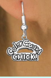 """<bR>               EXCLUSIVELY OURS!!<BR>         AN ALLAN ROBIN DESIGN!!<BR>CLICK HERE TO SEE 600+ EXCITING<BR>   CHANGES THAT YOU CAN MAKE!<BR>              LEAD & NICKEL FREE!! <BR>W1289SE -  SILVER TONE CHARM <BR>"""" COLOR GUARD CHICK!"""" EARRINGS  <BR>      FROM $4.50 TO $8.35 �2012"""