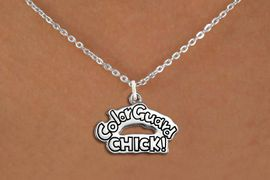 """<bR>               EXCLUSIVELY OURS!!<BR>         AN ALLAN ROBIN DESIGN!!<BR>CLICK HERE TO SEE 600+ EXCITING<BR>   CHANGES THAT YOU CAN MAKE!<BR>              LEAD & NICKEL FREE!! <BR>W1289SN -  """"COLOR GUARD CHICK!"""" <Br>SILVER TONE CHARM & NECKLACE <BR>      FROM $4.50 TO $8.35 �2012"""
