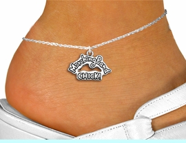 """<bR>          SCHOOL MARCHING BAND CHICK<BR>       ADJUSTABLE - LEAD & NICKEL FREE!! <BR>            W1290SAK - POLISHED SILVER TONE <BR>""""MARCHING BAND CHICK!"""" CHARM & ANKLET <BR>                             $9.68 EACH �2012"""