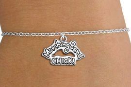 "<bR>               EXCLUSIVELY OURS!!<BR>         AN ALLAN ROBIN DESIGN!!<BR>CLICK HERE TO SEE 600+ EXCITING<BR>   CHANGES THAT YOU CAN MAKE!<BR>             LEAD & NICKEL FREE!! <BR>W1290SB - ""MARCHING BAND CHICK!"" <BR>SILVER TONE CHARM BRACELET <BR>     FROM $4.15 TO $8.00 �2012"