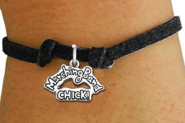 """<bR>               EXCLUSIVELY OURS!!<BR>         AN ALLAN ROBIN DESIGN!!<BR>CLICK HERE TO SEE 600+ EXCITING<BR>   CHANGES THAT YOU CAN MAKE!<BR>             LEAD & NICKEL FREE!! <BR>W1290SB - """"MARCHING BAND CHICK!"""" <BR>SILVER TONE CHARM BRACELET <BR>     FROM $4.15 TO $8.00 �2012"""