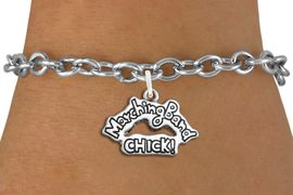 "<bR>               EXCLUSIVELY OURS!!<BR>         AN ALLAN ROBIN DESIGN!!<BR>CLICK HERE TO SEE 600+ EXCITING<BR>   CHANGES THAT YOU CAN MAKE!<BR>             LEAD & NICKEL FREE!! <BR>W1290SB - POLISHED SILVER TONE <BR>""MARCHING BAND CHICK!"" CHARM BRACELET <BR>     FROM $4.15 TO $8.00 �2012"