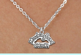 """<BR>  MARCHING BAND CHICK NECKLACE<bR>               EXCLUSIVELY OURS!!<BR>         AN ALLAN ROBIN DESIGN!!<BR>             LEAD & NICKEL FREE!! <BR>W1290N1 - """"MARCHING BAND CHICK!"""" <Br>SILVER TONE CHARM  NECKLACE <BR>                   $9.68 EACH �2012"""