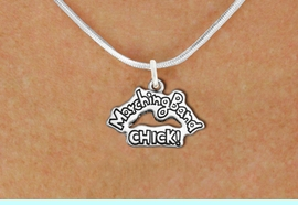 """<bR>               EXCLUSIVELY OURS!!<BR>         AN ALLAN ROBIN DESIGN!!<BR>CLICK HERE TO SEE 600+ EXCITING<BR>   CHANGES THAT YOU CAN MAKE!<BR>              LEAD & NICKEL FREE!! <BR>W1290SN - """"MARCHING BAND CHICK!"""" <Br>SILVER TONE CHARM & NECKLACE <BR>      FROM $4.50 TO $8.35 �2012"""