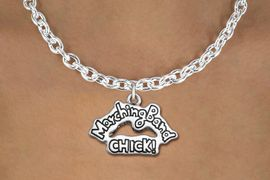 "<bR>               EXCLUSIVELY OURS!!<BR>         AN ALLAN ROBIN DESIGN!!<BR>CLICK HERE TO SEE 600+ EXCITING<BR>   CHANGES THAT YOU CAN MAKE!<BR>              LEAD & NICKEL FREE!! <BR>W1290SN - ""MARCHING BAND CHICK!"" <Br>SILVER TONE CHARM & NECKLACE <BR>      FROM $4.50 TO $8.35 �2012"