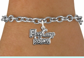 """<bR>               EXCLUSIVELY OURS!!<BR>         AN ALLAN ROBIN DESIGN!!<BR>CLICK HERE TO SEE 600+ EXCITING<BR>   CHANGES THAT YOU CAN MAKE!<BR>             LEAD & NICKEL FREE!! <BR>W1291SB - POLISHED SILVER TONE <BR>""""FLAG CORP ROCKS!"""" CHARM BRACELET <BR>     FROM $4.15 TO $8.00 �2012"""