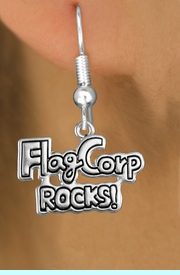 """<bR>               EXCLUSIVELY OURS!!<BR>         AN ALLAN ROBIN DESIGN!!<BR>CLICK HERE TO SEE 600+ EXCITING<BR>   CHANGES THAT YOU CAN MAKE!<BR>              LEAD & NICKEL FREE!! <BR>W1291SE -  SILVER TONE CHARM <BR>"""" FLAG CORP ROCKS!"""" EARRINGS  <BR>      FROM $4.50 TO $8.35 �2012"""