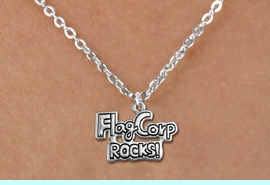 """<bR>               EXCLUSIVELY OURS!!<BR>         AN ALLAN ROBIN DESIGN!!<BR>CLICK HERE TO SEE 600+ EXCITING<BR>   CHANGES THAT YOU CAN MAKE!<BR>              LEAD & NICKEL FREE!! <BR>W1291SN -  """"FLAG CORP ROCKS!"""" <Br>SILVER TONE CHARM & CHILDS NECKLACE <BR>      FROM $4.50 TO $8.35 �2012"""