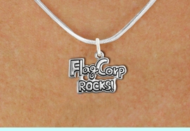 """<bR>               EXCLUSIVELY OURS!!<BR>         AN ALLAN ROBIN DESIGN!!<BR>CLICK HERE TO SEE 600+ EXCITING<BR>   CHANGES THAT YOU CAN MAKE!<BR>              LEAD & NICKEL FREE!! <BR>W1291SN -  """"FLAG CORP ROCKS!"""" <Br>SILVER TONE CHARM & NECKLACE <BR>      FROM $4.50 TO $8.35 �2012"""