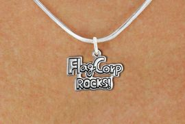 "<bR>               EXCLUSIVELY OURS!!<BR>         AN ALLAN ROBIN DESIGN!!<BR>CLICK HERE TO SEE 600+ EXCITING<BR>   CHANGES THAT YOU CAN MAKE!<BR>              LEAD & NICKEL FREE!! <BR>W1291SN -  ""FLAG CORP ROCKS!"" <Br>SILVER TONE CHARM & NECKLACE <BR>      FROM $4.50 TO $8.35 �2012"