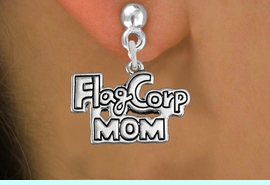 """<bR>               EXCLUSIVELY OURS!!<BR>         AN ALLAN ROBIN DESIGN!!<BR>CLICK HERE TO SEE 600+ EXCITING<BR>   CHANGES THAT YOU CAN MAKE!<BR>              LEAD & NICKEL FREE!! <BR>W1292SE -  SILVER TONE CHARM <BR>"""" FLAG CORP MOM"""" EARRINGS  <BR>      FROM $4.50 TO $8.35 �2012"""