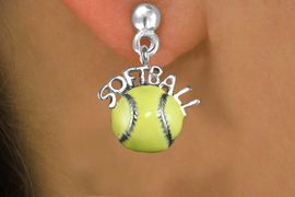 """<bR>               EXCLUSIVELY OURS!!<BR>         AN ALLAN ROBIN DESIGN!!<BR>CLICK HERE TO SEE 600+ EXCITING<BR>   CHANGES THAT YOU CAN MAKE!<BR>              LEAD & NICKEL FREE!! <BR>W1294SE -  SILVER TONE """"SOFTBALL"""" <BR> ON YELLOW SOFTBALL EARRINGS  <BR>      FROM $4.50 TO $8.35 �2012"""