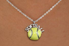 """<bR>               EXCLUSIVELY OURS!!<BR>         AN ALLAN ROBIN DESIGN!!<BR>CLICK HERE TO SEE 600+ EXCITING<BR>   CHANGES THAT YOU CAN MAKE!<BR>              LEAD & NICKEL FREE!! <BR>W1294SN -  """"SOFTBALL""""SILVER TONE<Br> AND YELLOW EPOXY CHARM & NECKLACE <BR>      FROM $4.50 TO $8.35 �2012"""