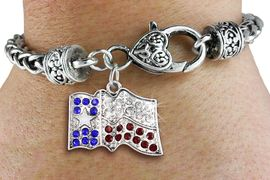 <bR>                   EXCLUSIVELY OURS!!<BR>             AN ALLAN ROBIN DESIGN!!<BR>    CLICK HERE TO SEE 600+ EXCITING<BR>       CHANGES THAT YOU CAN MAKE!<BR>                 LEAD & NICKEL FREE!!<BR>W1302SB - TEXAS STATE FLAG CRYSTAL <BR>   CHARM & HEART CLASP BRACELET <BR>         FROM $5.63 TO $12.50 �2012