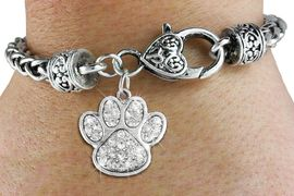 <bR>                   EXCLUSIVELY OURS!!<BR>             AN ALLAN ROBIN DESIGN!!<BR>    CLICK HERE TO SEE 600+ EXCITING<BR>       CHANGES THAT YOU CAN MAKE!<BR>                 LEAD & NICKEL FREE!! <BR>W1306B1 - PAW PRINT CRYSTAL <BR>   CHARM & HEART CLASP BRACELET <BR>         FROM $5.63 TO $12.50 �2012