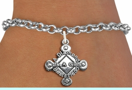 """<bR>               EXCLUSIVELY OURS!!<BR>         AN ALLAN ROBIN DESIGN!!<BR>CLICK HERE TO SEE 600+ EXCITING<BR>   CHANGES THAT YOU CAN MAKE!<BR> LEAD, CADMIUM, & NICKEL FREE!! <BR>W293SB - SOFTBALL CHARM BRACELET <BR>""""A DIAMOND IS A GIRLS BEST FRIEND"""" <BR>        FROM $4.15 T0O $8.00 �2012"""