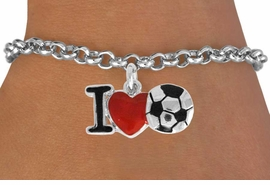 "<bR>               EXCLUSIVELY OURS!!<BR>         AN ALLAN ROBIN DESIGN!!<BR>CLICK HERE TO SEE 1600+ EXCITING<BR>   CHANGES THAT YOU CAN MAKE!<BR>      LEAD, CADMIUM, & NICKEL FREE!!<BR>        W840SB - ""I LOVE SOCCER""<Br>  BRACELET FROM $4.50 TO $8.35 &#169;2011"