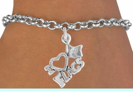 """<bR>               EXCLUSIVELY OURS!!<BR>         AN ALLAN ROBIN DESIGN!!<BR>CLICK HERE TO SEE 600+ EXCITING<BR>   CHANGES THAT YOU CAN MAKE!<BR>              LEAD & NICKEL FREE!!<BR>        W903SB - """"I LOVE FLAGS""""<Br>  BRACELET FROM $4.50 TO $8.35"""