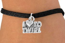 """<bR>               EXCLUSIVELY OURS!!<BR>         AN ALLAN ROBIN DESIGN!!<BR>CLICK HERE TO SEE 600+ EXCITING<BR>   CHANGES THAT YOU CAN MAKE!<BR>              LEAD & NICKEL FREE!!<BR>        W904SB - """"I LOVE TO TWIRL""""<Br>  BRACELET FROM $4.50 TO $8.35"""