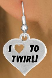 """<bR>               EXCLUSIVELY OURS!!<BR>         AN ALLAN ROBIN DESIGN!!<BR>CLICK HERE TO SEE 600+ EXCITING<BR>   CHANGES THAT YOU CAN MAKE!<BR>              LEAD & NICKEL FREE!!<BR>        W963SE - """"I LOVE TO TWIRL"""" <Br>       EARRINGS FROM $4.50 TO $8.35"""