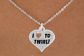 """<bR>               EXCLUSIVELY OURS!!<BR>         AN ALLAN ROBIN DESIGN!!<BR>CLICK HERE TO SEE 600+ EXCITING<BR>   CHANGES THAT YOU CAN MAKE!<BR>              LEAD & NICKEL FREE!!<BR>      W963SN - """"I LOVE TO TWIRL"""" <Br>      NECKLACE FROM $4.50 TO $8.35"""