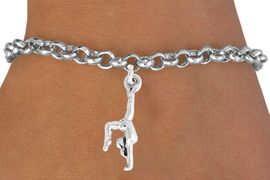 "<bR>             GYMNASTIC CHARM BRACELET-ADJUSTABLE<BR>       <BR>              LEAD & NICKEL FREE!!<BR>  W965B2 - ""GYMNAST ON HANDS"" <Br>       BRACELET  $9.38EACH �2011"