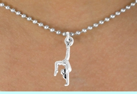 """<bR>               EXCLUSIVELY OURS!!<BR>         AN ALLAN ROBIN DESIGN!!<BR>CLICK HERE TO SEE 600+ EXCITING<BR>   CHANGES THAT YOU CAN MAKE!<BR>              LEAD & NICKEL FREE!!<BR>  W965SN - """"GYMNAST ON HANDS""""<Br>    NECKLACE FROM $4.50 TO $8.35<BR>                               �2011"""