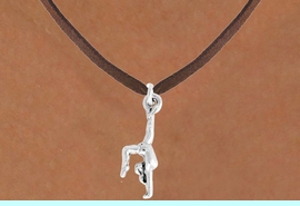 """<bR>               EXCLUSIVELY OURS!!<BR>         AN ALLAN ROBIN DESIGN!!<BR>CLICK HERE TO SEE 600+ EXCITING<BR>   CHANGES THAT YOU CAN MAKE!<BR>              LEAD & NICKEL FREE!!<BR>  W965SN - """"GYMNAST ON HANDS""""<Br>    NECKLACE FROM $4.50 TO $8.35"""