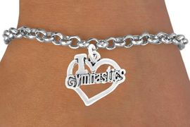 "<bR>           GYMNASTIC BRACELET-ADJUSTABLE<BR>                      <BR>NICKLE, LEAD, AND CADMIUM FREE<BR>966B2 - ""I LOVE GYMNASTICS"" <Br>       BRACELET  $8.68 EACH  �2011"