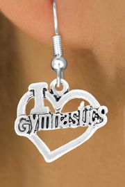 """<bR>               EXCLUSIVELY OURS!!<BR>         AN ALLAN ROBIN DESIGN!!<BR>CLICK HERE TO SEE 600+ EXCITING<BR>   CHANGES THAT YOU CAN MAKE!<BR>              LEAD & NICKEL FREE!!<BR> W966SE - """"I LOVE GYMNASTICS"""" <Br>       EARRINGS FROM $4.50 TO $8.35"""