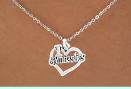 """<bR>               EXCLUSIVELY OURS!!<BR>         AN ALLAN ROBIN DESIGN!!<BR>CLICK HERE TO SEE 600+ EXCITING<BR>   CHANGES THAT YOU CAN MAKE!<BR>              LEAD & NICKEL FREE!!<BR>  W966SN - """"I LOVE GYMNASTICS""""<Br>    NECKLACE FROM $4.50 TO $8.35<BR>                            �2011"""