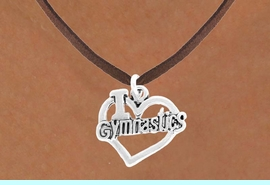 """<bR>               EXCLUSIVELY OURS!!<BR>         AN ALLAN ROBIN DESIGN!!<BR>CLICK HERE TO SEE 600+ EXCITING<BR>   CHANGES THAT YOU CAN MAKE!<BR>              LEAD & NICKEL FREE!!<BR>  W966SN - """"I LOVE GYMNASTICS""""<Br>    NECKLACE FROM $4.50 TO $8.35"""