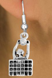 """<bR>               EXCLUSIVELY OURS!!<BR>         AN ALLAN ROBIN DESIGN!!<BR>CLICK HERE TO SEE 2000+ EXCITING<BR>   CHANGES THAT YOU CAN MAKE!<BR>              LEAD & NICKEL FREE!!<BR>   W967SE - """"BLOCKED & SPIKED""""<BR>                       VOLLEYBALL <Br>    EARRINGS FROM $4.50 TO $8.35"""