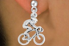 """<bR>               EXCLUSIVELY OURS!!<BR>         AN ALLAN ROBIN DESIGN!!<BR>CLICK HERE TO SEE 600+ EXCITING<BR>   CHANGES THAT YOU CAN MAKE!<BR>              LEAD & NICKEL FREE!!<BR>  W968SE - """"BICYCLIST"""" EARRINGS<Br>               FROM $4.50 TO $8.35"""