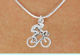 """<bR>               EXCLUSIVELY OURS!!<BR>         AN ALLAN ROBIN DESIGN!!<BR>CLICK HERE TO SEE 600+ EXCITING<BR>   CHANGES THAT YOU CAN MAKE!<BR>              LEAD & NICKEL FREE!!<BR>  W968SN - """"BICYCLIST"""" NECKLACE<Br>               FROM $4.50 TO $8.35<BR>                                 �2011"""