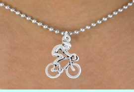 """<bR>               EXCLUSIVELY OURS!!<BR>         AN ALLAN ROBIN DESIGN!!<BR>CLICK HERE TO SEE 600+ EXCITING<BR>   CHANGES THAT YOU CAN MAKE!<BR>              LEAD & NICKEL FREE!!<BR>  W968SN - """"BICYCLIST"""" NECKLACE<Br>               FROM $4.50 TO $8.35"""