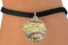 <bR>               EXCLUSIVELY OURS!!<BR>         AN ALLAN ROBIN DESIGN!!<BR>CLICK HERE TO SEE 600+ EXCITING<BR>   CHANGES THAT YOU CAN MAKE!<BR>              LEAD & NICKEL FREE!!<BR>       W973SB - YELLOW AUSTRIAN <Br>     CRYSTAL SOFTBALL CHARM &  <bR>    BRACELET FROM $5.40 TO $9.85
