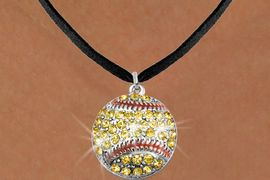 <bR>               EXCLUSIVELY OURS!!<BR>         AN ALLAN ROBIN DESIGN!!<BR>CLICK HERE TO SEE 600+ EXCITING<BR>   CHANGES THAT YOU CAN MAKE!<BR>              LEAD & NICKEL FREE!!<BR>      W973SN - YELLOW AUSTRIAN<Br>       CRYSTAL SOFTBALL CHARM  &  <Br>     NECKLACE FROM $5.40 TO $9.85