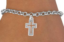 "<bR>               EXCLUSIVELY OURS!!<BR>         AN ALLAN ROBIN DESIGN!!<BR>CLICK HERE TO SEE 600+ EXCITING<BR>   CHANGES THAT YOU CAN MAKE!<BR>              LEAD & NICKEL FREE!!<BR>  W974SB - ""OPEN CROSS"" BRACELET<Br>                FROM $4.15 TO $8.00<BR>                                  �2011"