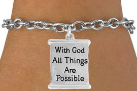 "<bR>               EXCLUSIVELY OURS!!<BR>         AN ALLAN ROBIN DESIGN!!<BR>CLICK HERE TO SEE 600+ EXCITING<BR>   CHANGES THAT YOU CAN MAKE!<BR>              LEAD & NICKEL FREE!!<BR>  W975SB - ""WITH GOD ALL THINGS"" <Br>        ARE POSSIBLE  BRACELET <BR>              FROM $4.15 TO $8.00"