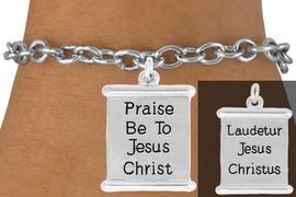 "<bR>               EXCLUSIVELY OURS!!<BR>         AN ALLAN ROBIN DESIGN!!<BR>CLICK HERE TO SEE 600+ EXCITING<BR>   CHANGES THAT YOU CAN MAKE!<BR>              LEAD & NICKEL FREE!!<BR>  W976SB - 2 SIDED ""PRAISE BE  <Br>        TO JESUS CHRIST"" BRACELET <BR>              FROM $4.15 TO $8.00<BR>                                �2011"
